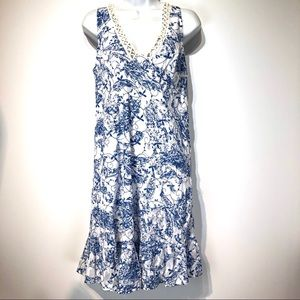 Altar'd state blue white collar sleeveless dress S